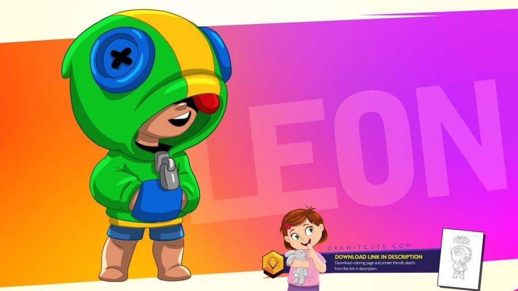 Brawl Stars Leon. Jak narysować zadymiarza samouczek i kolorowanka. How to draw Leon from Brawl Stars with free coloring page.