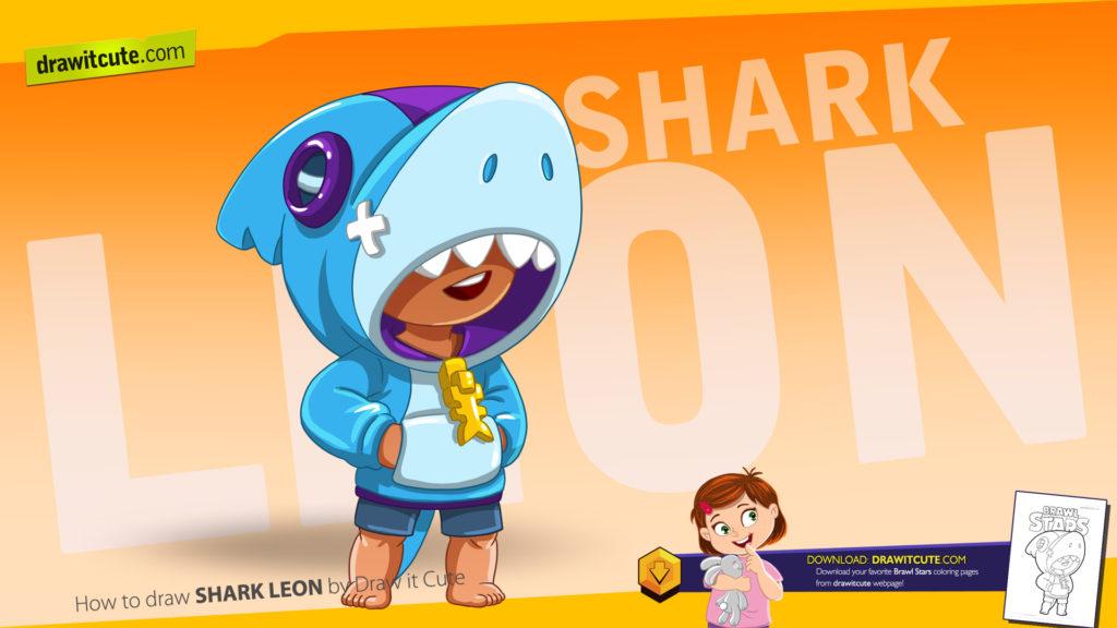 Jak narysowaćShark Leon-a. Shark Leon nowy zadymiarz a z Brawl Stars. Nowy tutorial z darmową kolorowanką.
